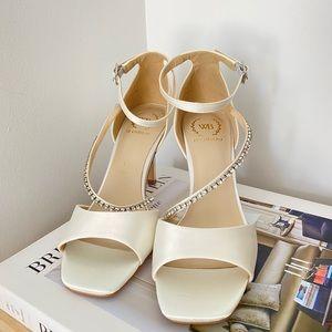 Satin Square Toe Sandal/Heels with Jewel Strap💎